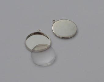 10 pieces: 5 Supports Platinum pendant + 5 cabochons 20mm - Ref: SPP 605