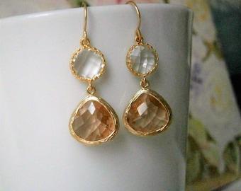 Blush Champagne, Blush  Earrings, Clear Crystal Earrings, Gold Earrings