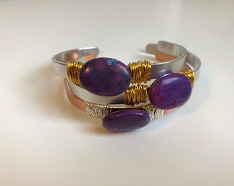 Mohave Purple Turquoise Gemstone Wire-Wrapped Cuff Bracelet (Summer Collection)