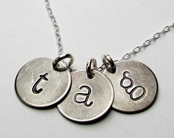 Three Letter Charm Necklace, Vintage Style Antiqued Initial Charms, Sterling Silver Personalized Jewelry, Hand Stamped Pendant E. Ria Design