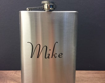 Stainless steel flask with custom decal