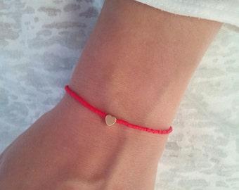 Heart bracelet, gold bracelet, tiny bracelet, beaded bracelet, bridesmaid gift