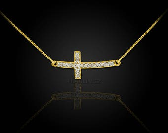14K Gold Curved Mini Sideways Cross Diamond Necklace (yellow, white, rose gold)