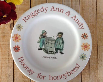 Raggedy Ann plate, honeybee plate, 1950's children's book, Raggedy Ann and Andy, Beekeeper Plate, bee plate, Sandwich plate, Save the bees