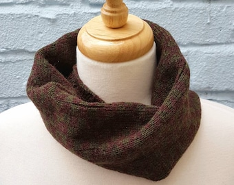 Knitted Geometric Cowl/Snood made from Shetland Wool - Brown & Green, Sustainable, Headband, Cycling, Winter, Gift for him, Dad fathers day