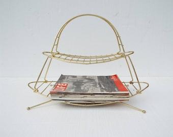 Mid Century Modern Atomic Brass Metal Portable Magazine Rack Shelves