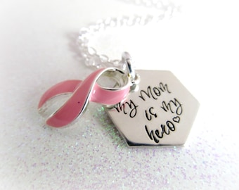 My Mom is my Hero, Breast Cancer Awareness, Pinktober Theme, Pink Ribbon Charm, Keychains, Accessories, Gifts for Her, Cancer Survivor Gifts