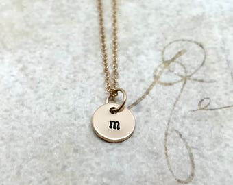 Initial Necklace, Gold, Letter m Necklace, All Letters Available, Personalized Jewelry, Lower Case, Hand Stamped Jewelry, Mother's Necklace