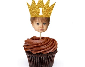 Gold Princess Party, Gold Crown Cupcake Toppers, Gold Princess, Gold and Pink, Gold glitter crown, One Year Birthday