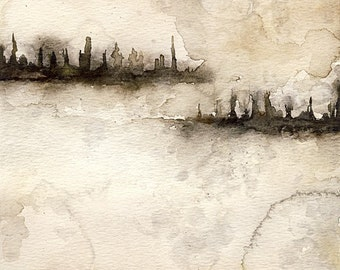 Dystopia Watercolor Painting Cityscape dreary winter stormy foggy square giclee art print skyline silhouette