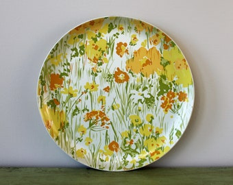 "Retro Round Fiberglass Tray with Yellow and Orange Flowers. Vintage 14"" Serving Tray."
