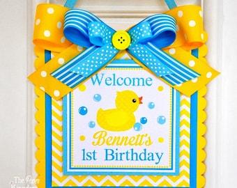 Rubber Ducky Door Sign, Welcome Door Hanger, Rubber Ducky Birthday, Rubber Ducky Baby Shower Decorations
