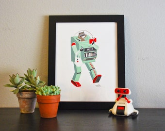 R, Alphabet Print, Original Silk Screen Print, Children/Nursery Decor, Robot, Raccoon,Reading