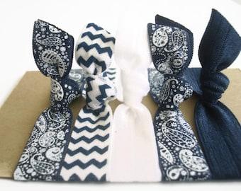 Chevron Hair Ties: FOE Fold Over Elastic Hair Ties in chevron navy, paisley navy, printed hair ties. ribbon hair ties, ponytail holders.