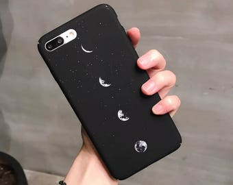 Original shell personality space eclipse simple creative moon scrub Black Matte Hard Plastic Case For iPhone 8 7 Plus 6 6S Plus Fundas Coque