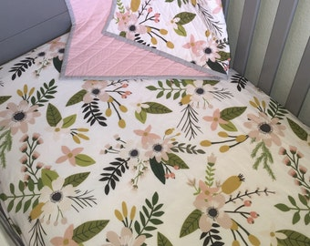 Spring floral Crib Sheet, Changing Pad Cover, bedding, nursery