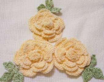 3 roses flowers hand dyed light peach appliques scrapbooking sewn on home decor handmade embellishments