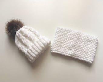 Set Hat Pompom fake fur and snood 12/18 months