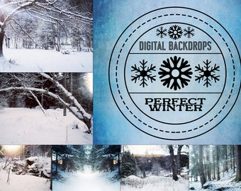 Perfect Winter - 15 digitale Backdrops