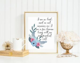 I am no bird, Jane Eyre quote, digital download, literary quotes, literary quote print, printable quote art, jane eyre printable, wall decor
