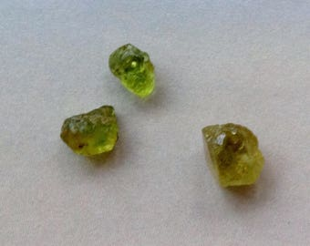 3 Excellent Quality Raw Periodt Nugget, 8-10mm, Peridot Nuggets, August birthstone, Genuine Peridot, Loose Gemstones, Jewelry Making Suppl