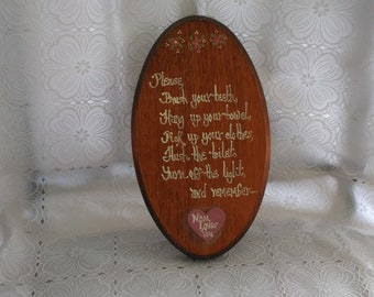 Vintage Wooden Plaque w/ Bathroom Slogan Saying Brush Teeth Hang Up Towel Pick Up Clothes Flush Toilet Turn Off Light Remember Mom Loves You