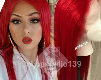 Fire engines Red 100% Human Hair Lace Front Wig