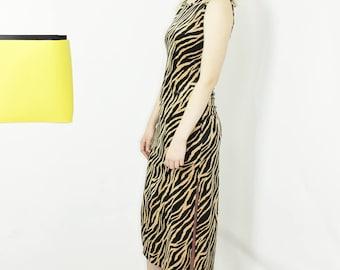 tiger print dress velour velvet midi dress high slit sleeveless small
