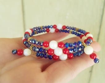 Red/White/Blue memory wire wrap bracelet!