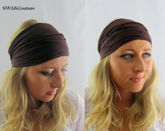Brown Yoga Headband, Stretchy Cotton Jersey Wide Headband Women's Workout HeadBand Hair Wrap - Choose Your Color