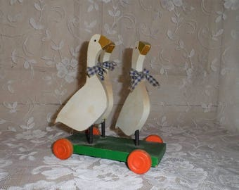 Vintage Handmade Wooden Goose Pull Toy-Gaggle of Geese-Old Time Pretend Play-Folk Home Decor-Country-Farm Chic-Orphaned Treasure-T101817J