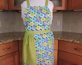 FREE SHIPPING - Apron with towel floral green blue plurple