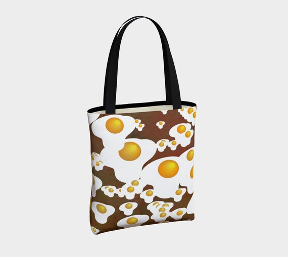 funky canvas tote bag with with eggs pattern