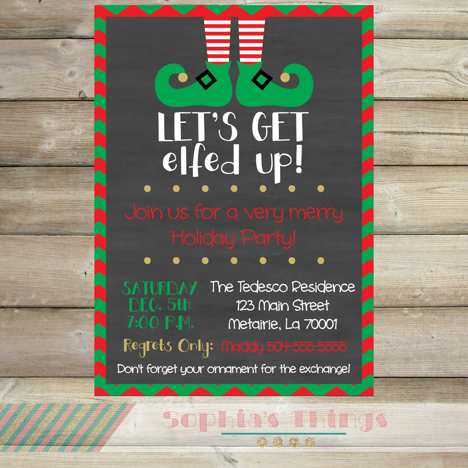 Let\'s Get Elfed Up Christmas Party Invitation Holiday