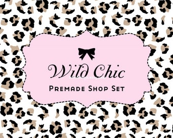 Wild Chic Etsy Shop Set and Matching Business Card Design