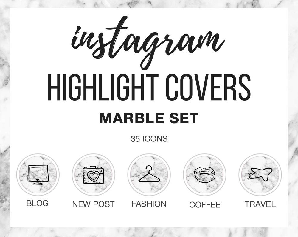 36 instagram stories highlights covers instagram icons marble