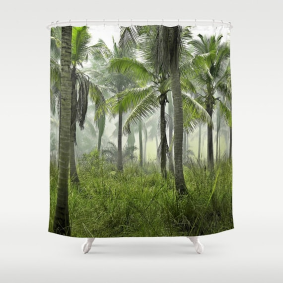 Jungle Palms Shower Curtain Tropical Forest Bathroom