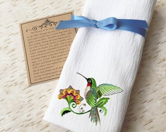 Flour Sack Towel Hummingbird - Western Country Kitchen Decor - Embroidered Towel - Kitchen Towels - Farmhouse Kitchen - Spring Decor