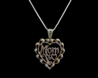 "Vintage Estate .925 Sterling Silver Necklace and Heart ""Mom"" Pendant 4.8g E1445"