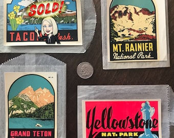 Vintage Water Slide Decals - themed around National Parks of the Northwest