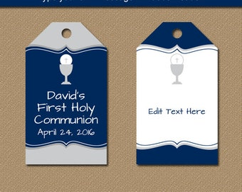 First Communion Tags - First Communion Gift Tags - Printable Hang Tags - EDITABLE Tags - Boy First Commuion Favor Tags Instant Download FC1