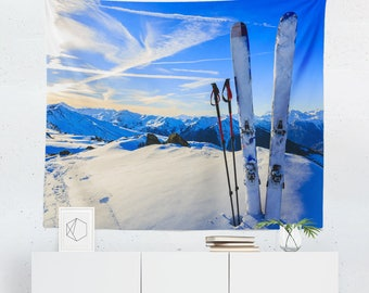 Skiing Gift   Skiing Tapestry   Skiing Wall Decor   Snow Tapestry   Skiing Decor   Snow Wall Decor   Winter Tapestry   Mountain Tapestry