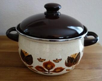 Big enamel flowered cooking pan/pot/saucepan with lid, brown and cream
