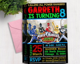Power Ranger Invitation, Power Ranger Birthday Invitation, Power Ranger Party, Power Ranger Birthday Party, Power Ranger Party Invites