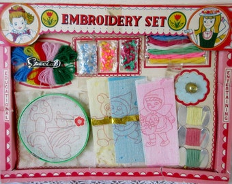 Vintage  Childs Embroidery Set in Original Box Made in Japan Learn to Embroider Kit