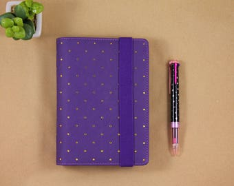A6 planner binder, Personal planner organizer, purple and polka dot gold planner with dividers
