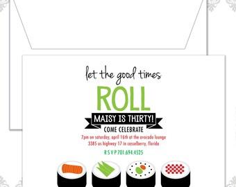 Sushi Birthday Invite, Sushi Party, Sushi theme Birthday, Sushi, Modern Sushi Invitation, Retro Sushi Party, Sushi Rolls, Thirtieth Birthday