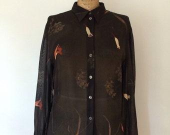 Mondi Vintage sheer rayon blouse w/ floral print NWT size 44 european
