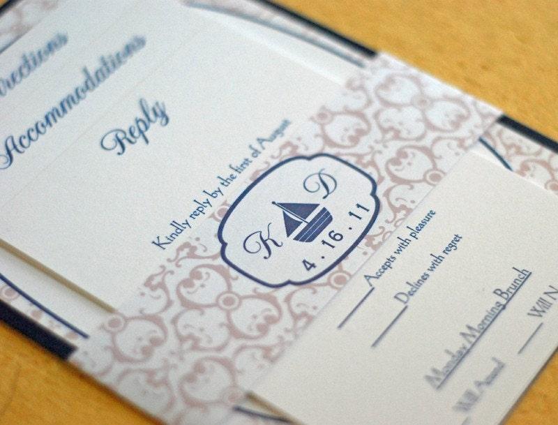 Sailboat Wedding Invitations: Sailboat Wedding Invitation Pocketfold Invitation Nautical