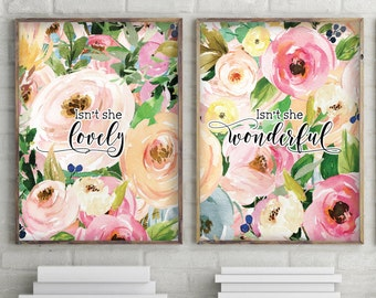 Baby girl nursery, Isn't she lovely printable, Wall art set of 2, Printable art set, Nursery decor, Modern prints, Watercolor prints, 1083